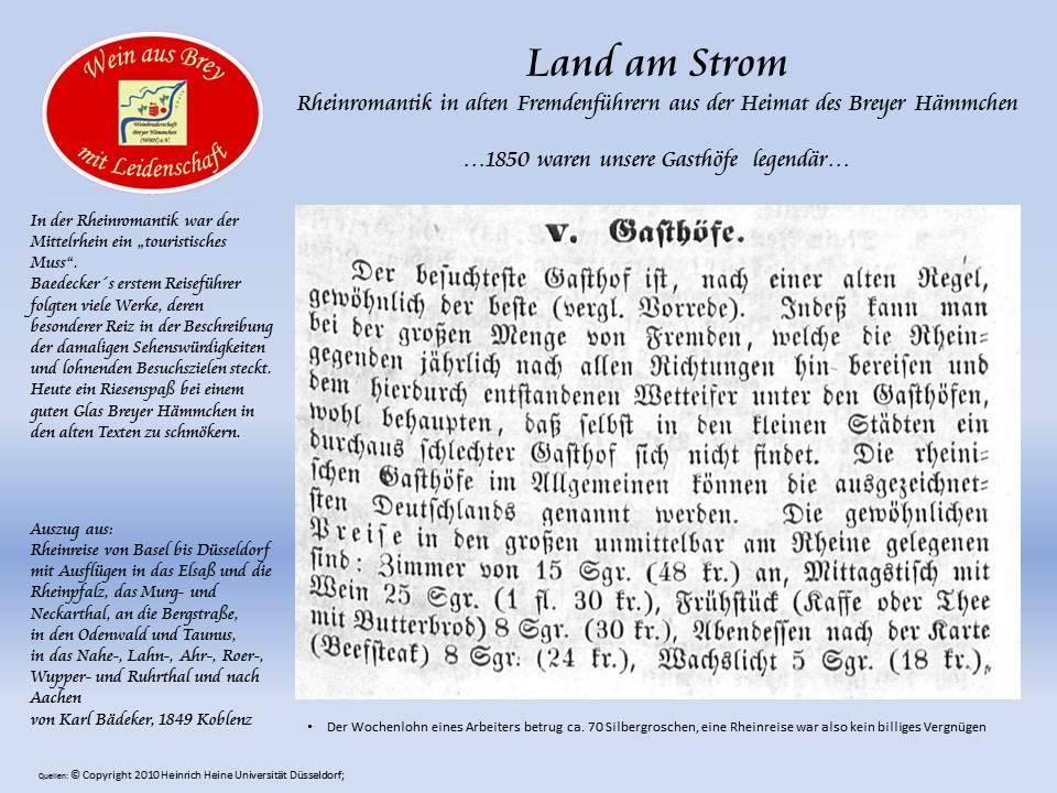 ...vor 150 Jahren war eine Rheinreise ein teures Vergnügen..