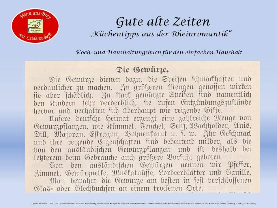 Die Gewürze aus der Rheinromantik